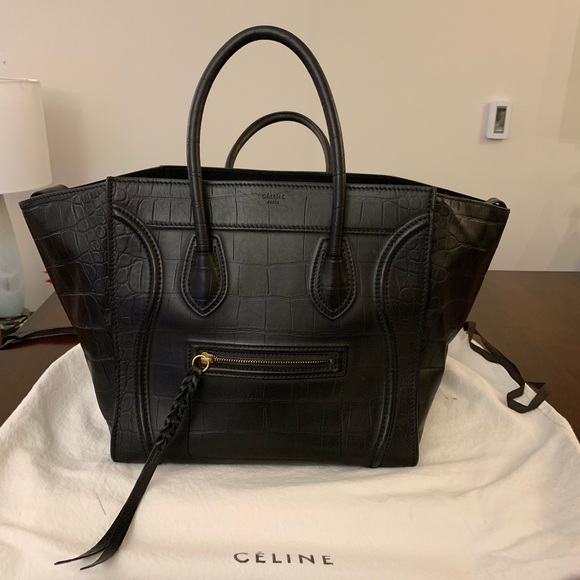 6f6a37de5be9 Celine Handbags - Celine Phantom black croc embossed purse